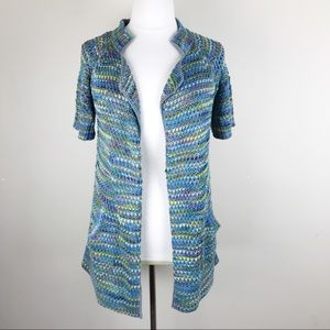 Peruvian Connection Short Sleeve Colored Cardigan